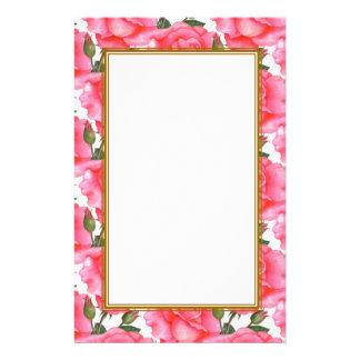 Papelaria Arte floral dos rosas cor-de-rosa feitos sob
