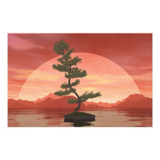 Papelaria Árvore dos bonsais do pinho escocês - 3D rendem