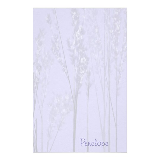 Papelaria Árvores de florescência da lavanda bonito com nome