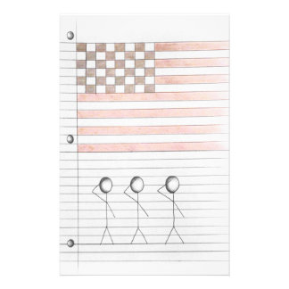 Papelaria As figuras da vara saudam a bandeira americana no