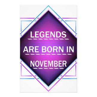 Papelaria As legendas são nascidas em novembro