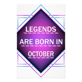 Papelaria As legendas são nascidas em outubro