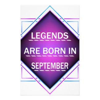 Papelaria As legendas são nascidas em setembro