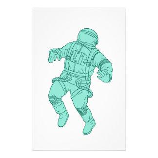 Papelaria Astronauta que flutua no desenho do espaço