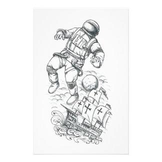 Papelaria Astronauta Tethered ao tatuagem de Caravel