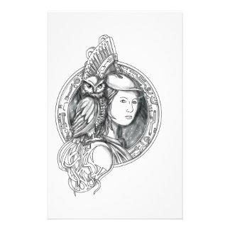 Papelaria Athena com a coruja no Cir do circuito eletrônico