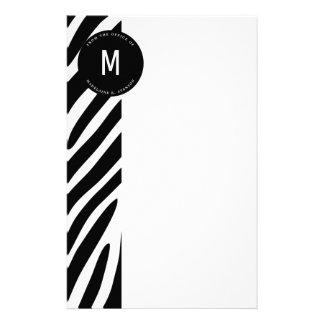 Papelaria Beira Monogrammed da zebra do escritório