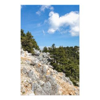 Papelaria Bench na montanha rochosa com árvores e o céu azul