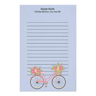 Papelaria Bicicleta cor-de-rosa bonito personalizada com as