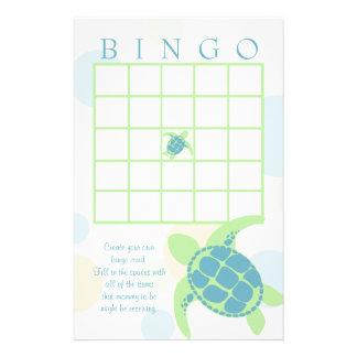 Papelaria Bingo do chá de fraldas da tartaruga de mar