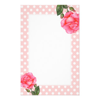 Papelaria Bolinhas florais da arte dos rosas cor-de-rosa da