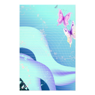 Papelaria Borboleta cor-de-rosa nas ondas do papel de carta