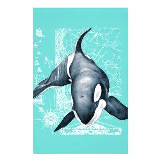 Papelaria Branco da cerceta da orca