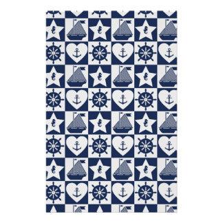 Papelaria Branco náutico dos azuis marinhos checkered