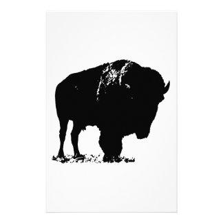 Papelaria Búfalo preto & branco do bisonte do pop art