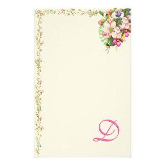 Papelaria Buquê floral do monograma de D