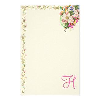 Papelaria Buquê floral do monograma de H