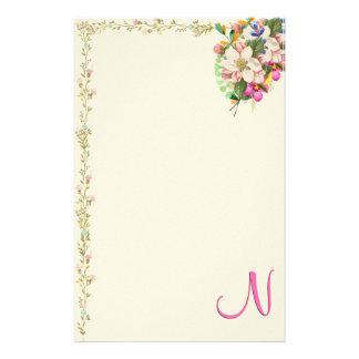 Papelaria Buquê floral do monograma de N
