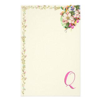 Papelaria Buquê floral do monograma de Q