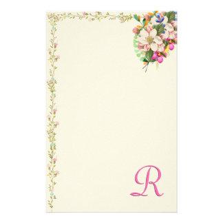 Papelaria Buquê floral do monograma de R