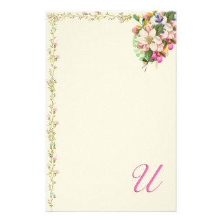 Papelaria Buquê floral do monograma de U