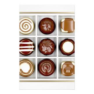 Papelaria Caixa com doces de chocolate
