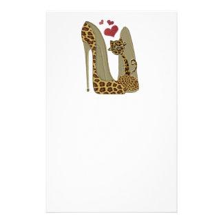 Papelaria Calçados do estilete do impressão do leopardo e