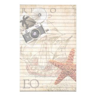 Papelaria Câmera do vintage da estrela do mar e navio de