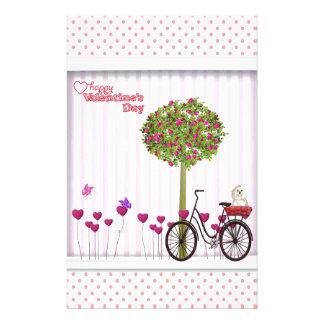 Papelaria Cão pequeno, cesta, bicicleta, árvore da flor e