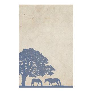 Papelaria Casamento azul e do marfim do vintage do cavalo da