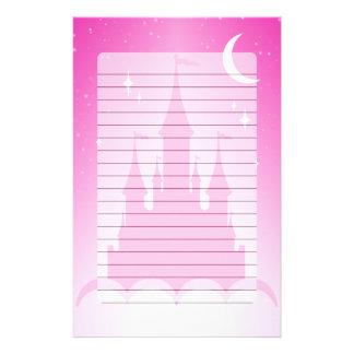 Papelaria Castelo sonhador cor-de-rosa no céu estrelado da