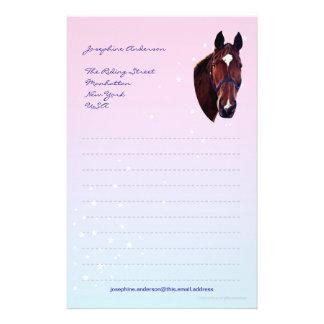 Papelaria Cavalo da castanha com papel de carta branco da