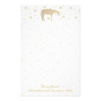 Papelaria Cavalo ocidental branco do ouro do pergaminho do