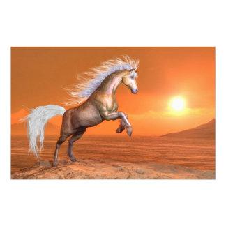 Papelaria Cavalo que eleva pelo por do sol - 3D rendem