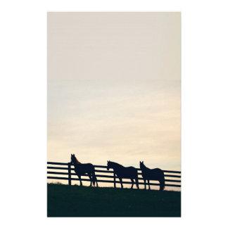 Papelaria Cavalos equestres na cerca do pasto