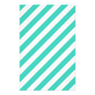 Papelaria Cerceta e teste padrão diagonal branco das listras