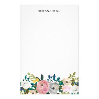 Papelaria Cerceta floral pintada da festão do jardim do