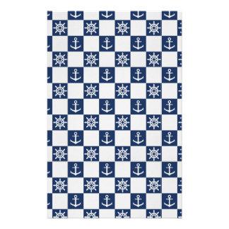 Papelaria Checkered branco azul náutico