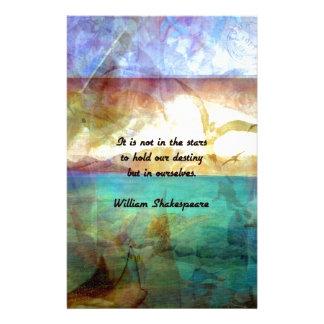 Papelaria Citações inspiradas de Shakespeare sobre o destino