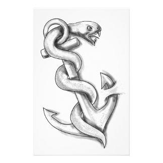 Papelaria Cobra de Asclepius que ondula acima no tatuagem da