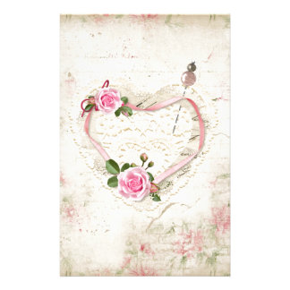 Papelaria Coração bonito do vintage do laço, flores,