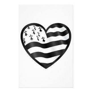 Papelaria Coração com bandeira de Bretin para dentro