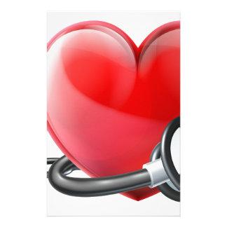 Papelaria Coração e conceito do estetoscópio