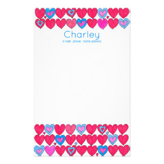 Papelaria Corações cor-de-rosa e azuis do watercolour