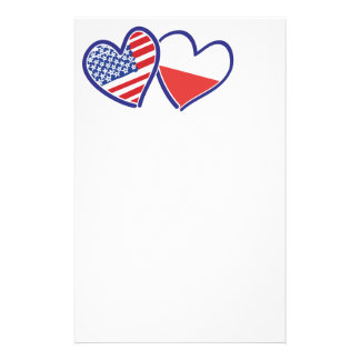 Papelaria Corações da bandeira do Polônia dos EUA