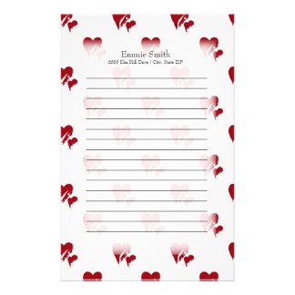 Papelaria Corações vermelhos personalizados no branco