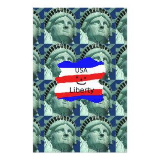 Papelaria Cores da bandeira dos EUA com estátua da liberdade