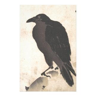 Papelaria Corvo de Kawanabe Kyosai que descansa na arte de
