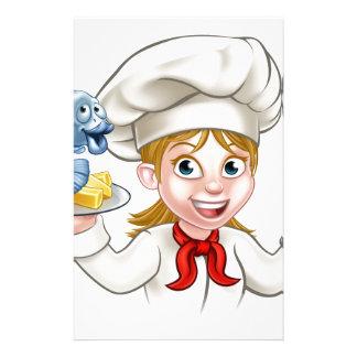 Papelaria Cozinheiro chefe da mulher do peixe com batatas