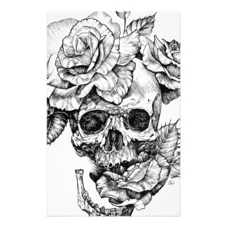 Papelaria Crânio humano e desenho de tinta preta dos rosas